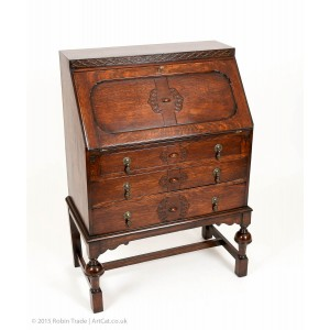 Antique Jacobean Style Oak Bureau Writing Table with 3 Drawers