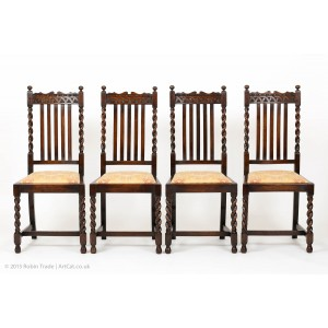 Four Oak Barley Twist Edwardian Chairs with Arch Carving