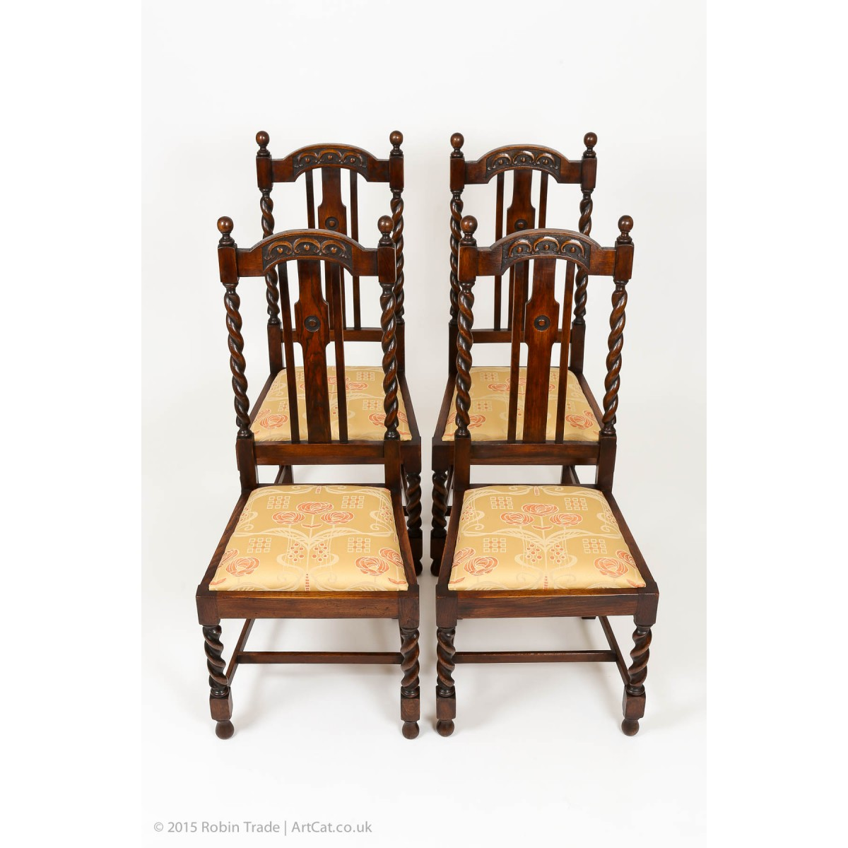 Perfect Four Oak Barley Twist Edwardian Chairs With Fine Carving