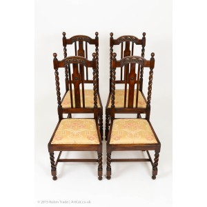 Four Oak Barley Twist Edwardian Chairs with Fine Carving