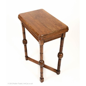 Antique Art Deco Oak Side Table 01