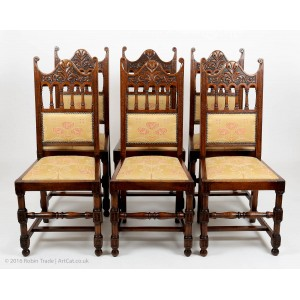Antique Art Deco Set of 6 Oak Carved High Back Dining Chairs