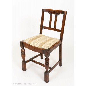 Antique Arts and Crafts Small Oak Dining Chairs with Turned Legs