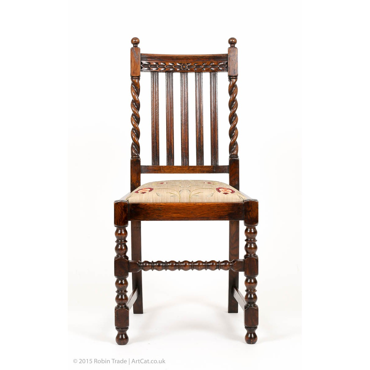 Set Of Four Antiquue Barley Twist Solid Oak Edwardian Dining Chairs With Carviing