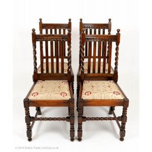 Four Oak Barley Twist Edwardian Dining Chairs
