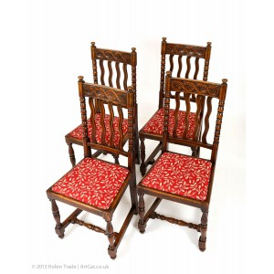 Four Antique Oak Bobbin Highback Dining Chairs with Fine Hand Carving