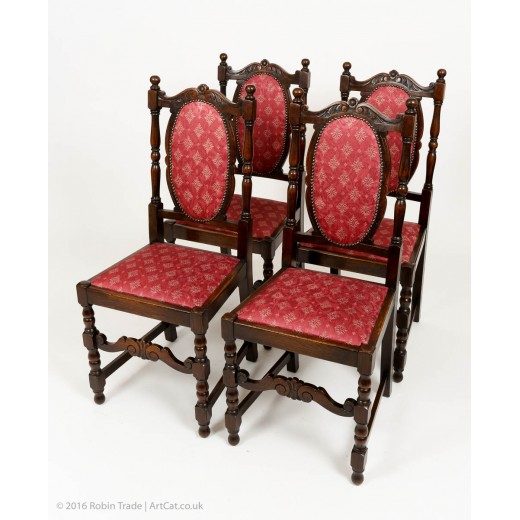 Four Oak Early 20th C High Back Carved Chairs