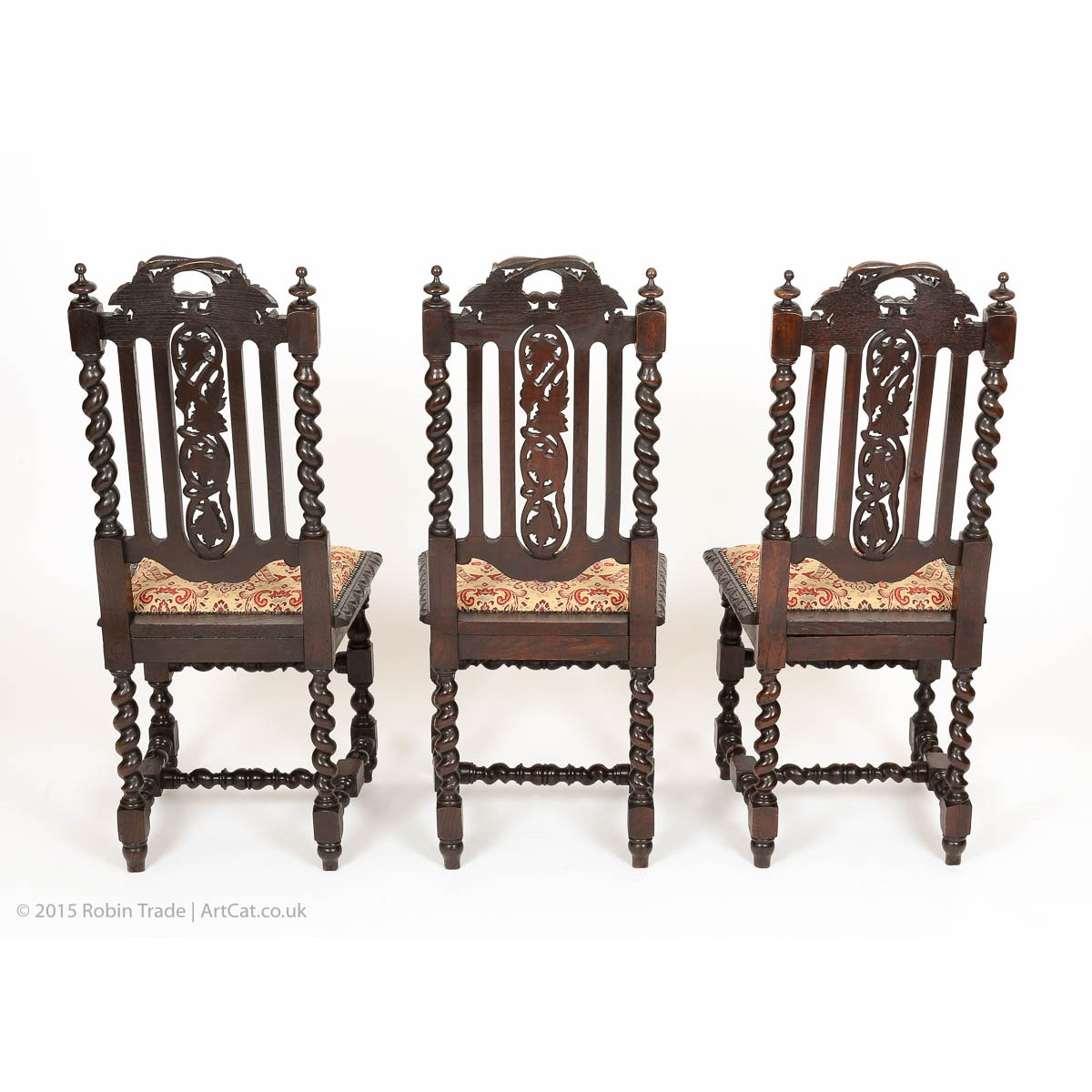 Antique victorian dining chairs -  Antique Set Of 6 Victorian Gothic Oak High Back Dining Chairs