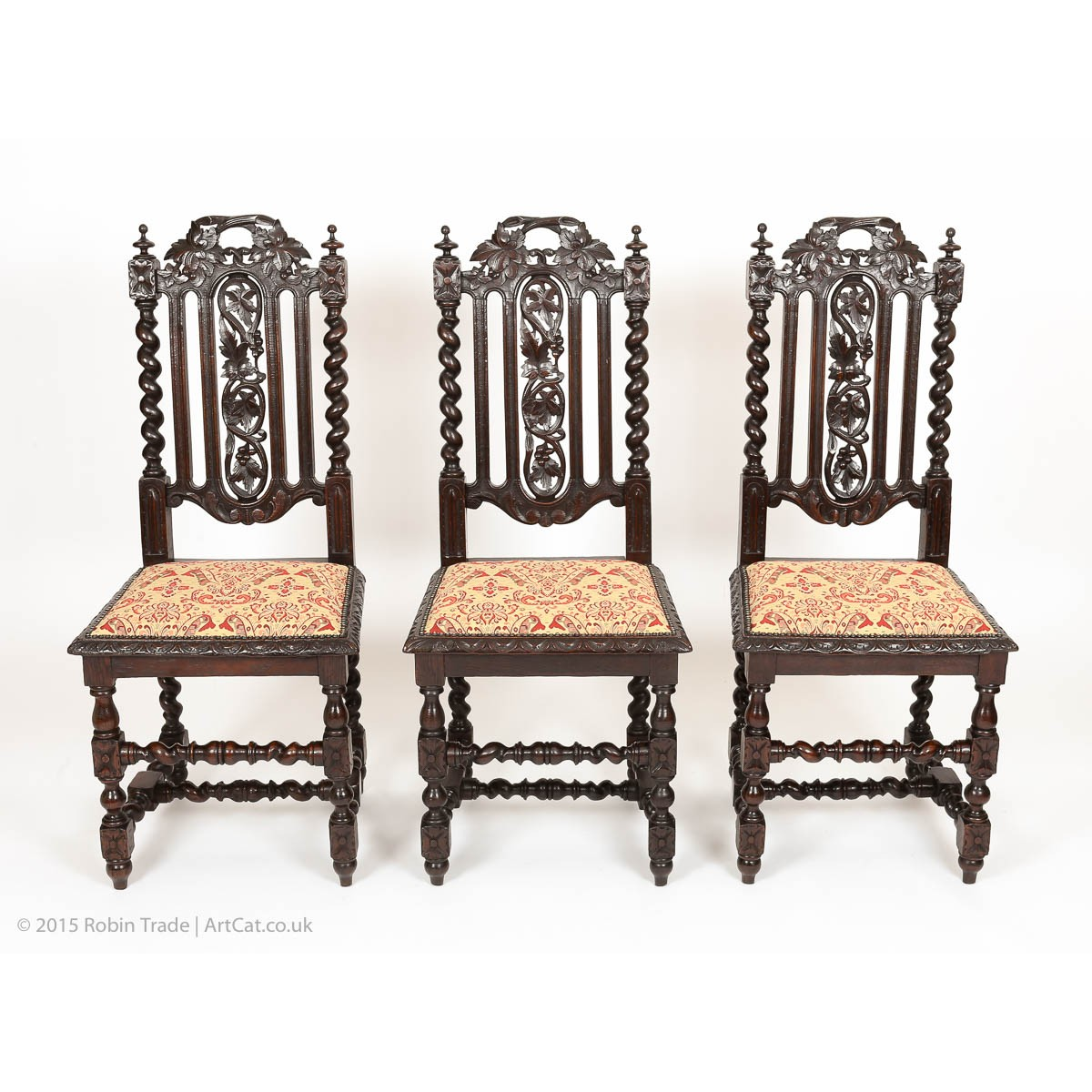 ... Antique Set of 6 Victorian Gothic Oak High Back Dining Chairs ... - Set Of Six Antiquue Gothic Style Solid Oak Victorian Dining Chairs