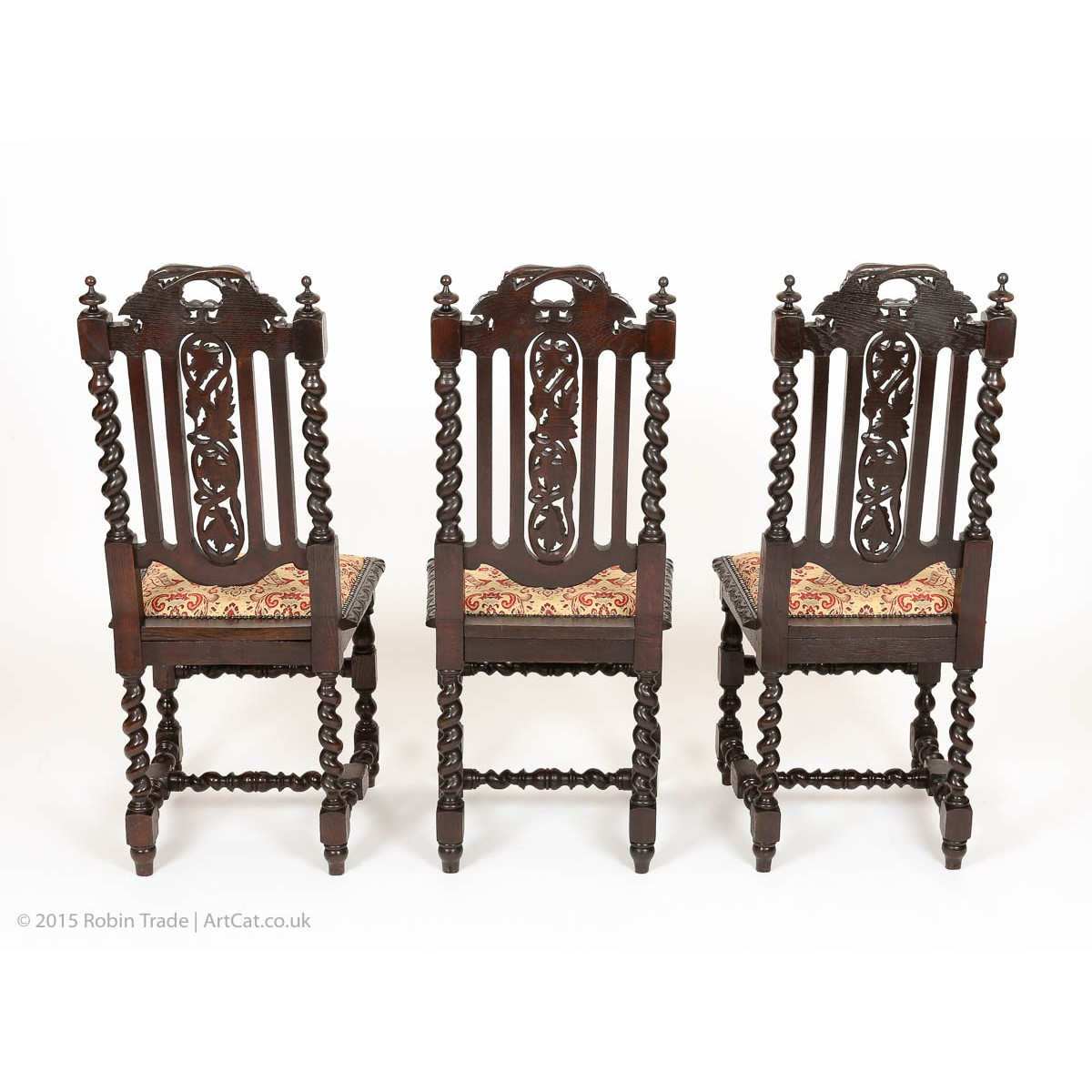 High back antique chairs - Antique Set Of 6 Victorian Gothic Oak High Back Dining Chairs