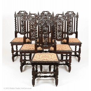 Antique Set of 6 Victorian Gothic Oak High Back Dining Chairs