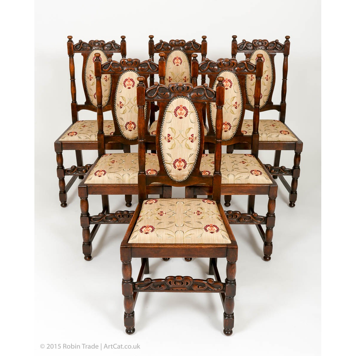 Prime Antique Set Of 6 Edwardian Oak High Back Dining Chairs Bralicious Painted Fabric Chair Ideas Braliciousco