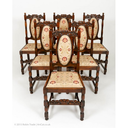 Antique Set of 6 Edwardian Oak High Back Dining Chairs Jacobean Style