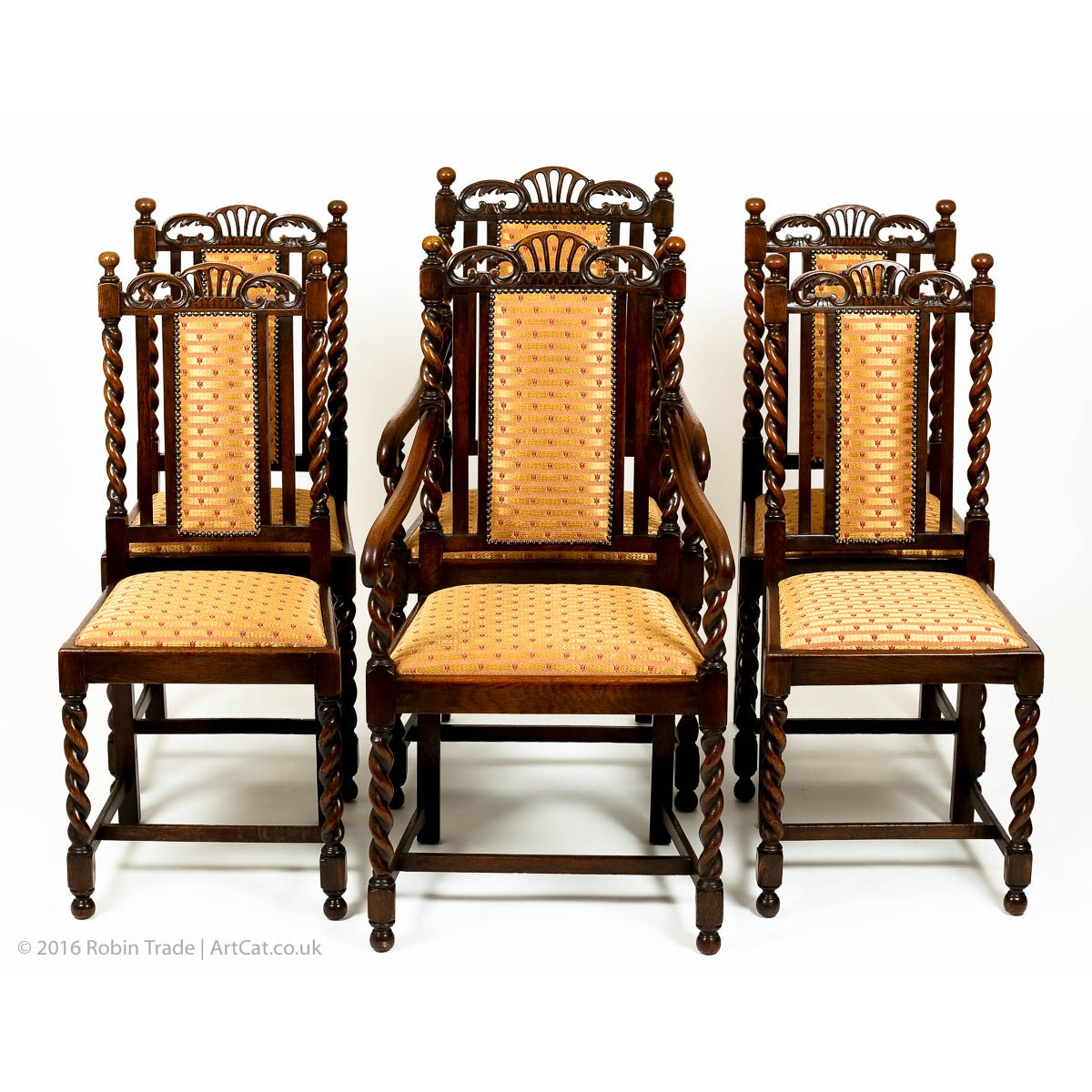 Set Of Six Antiquue Gothic Style Solid Oak Victorian