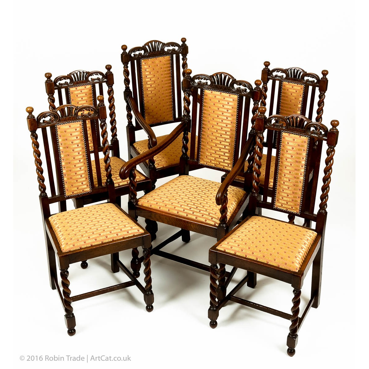 Pair victorian carved golden oak shield back side hall chairs