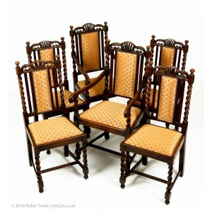 Antique Set of 6 Victorian Carved Oak Barley Twist Dining Chairs