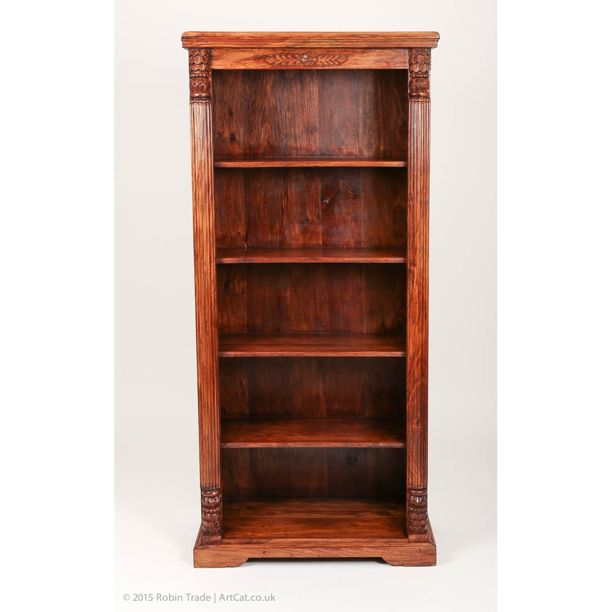 Antique Bookcase Carved Library Cabinet Solid Teak
