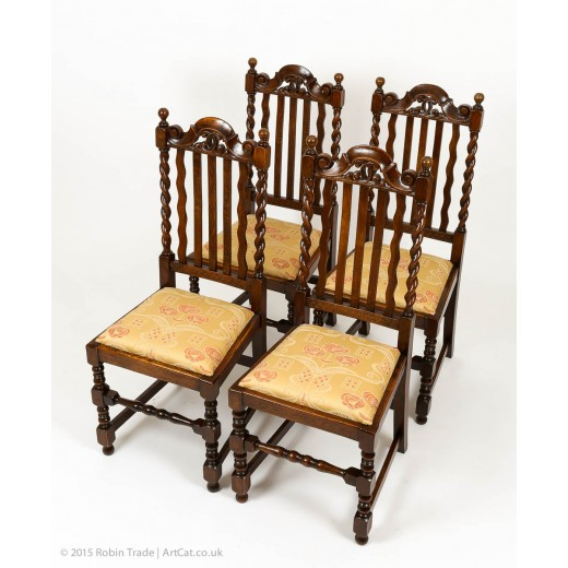 Four Oak Barley Twist Victorian 1860's Handmade Chairs with Fine Hand Carving