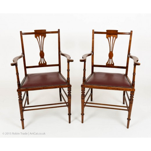 Antique Walnut Hall Armchairs with Leather Seats