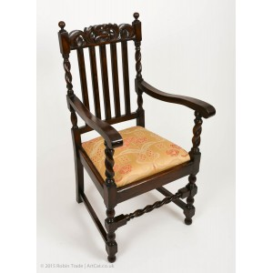 Barley Twist Edwardian Carver Chair With Throne Carving