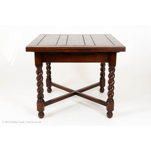 Oak Barley Twist Draw Leaf Table 03