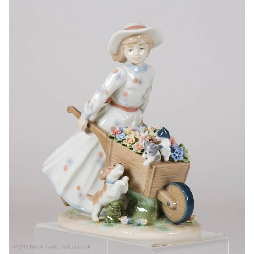 Nadal Fine Porcelain Figurine - Girl With Flower Wheelbarrow