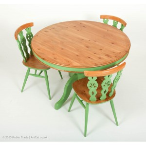 """Breakfast Dining Table 42"""" and 3 Ercol Fleur de Lys Chairs"""