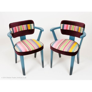 Vintage Cocktail Armchairs Upholstered With Designer Fabric