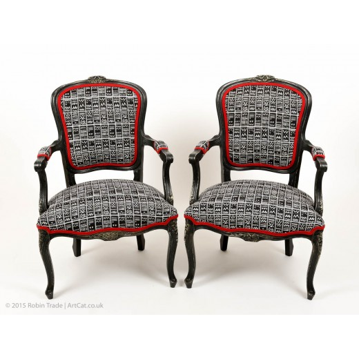 French Louis XV Style Open Carved Armchairs