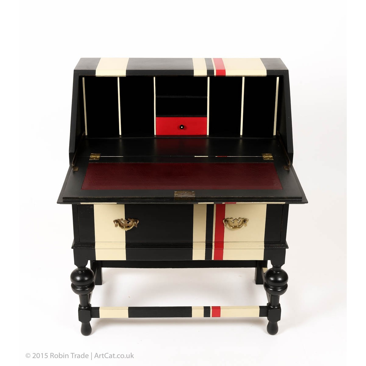Retro Painted Writing Desk Bureau With Two Drawers